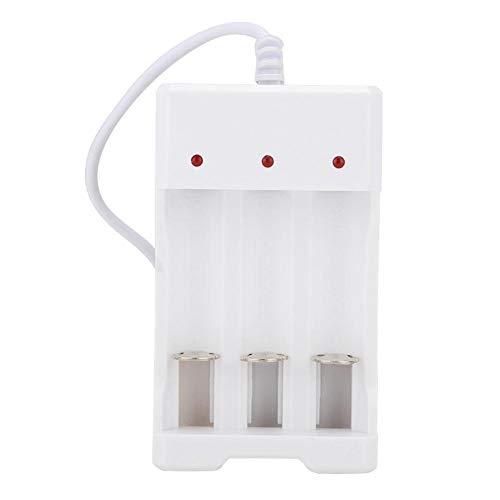 Boquite Batería recargable portátil, cargador USB de batería resistente ABS, cargador compacto de tres ranuras portátil o batería recargable AA AAA