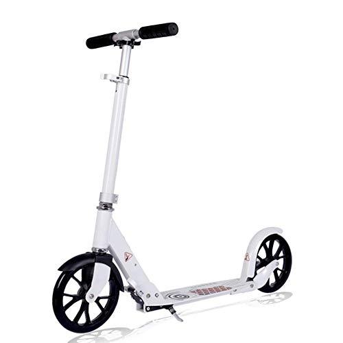 Scooter para adultos / adolescentes, patinete plegable con rueda grande, patinete de cercanías plegable ajustable con freno de guardabarros trasero para mujeres y hombres, no eléctrico, capacidad de