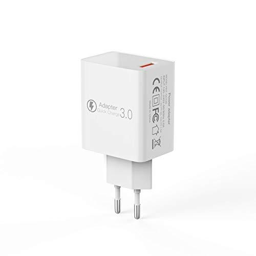 YLME EU QC3.0/2.0 High-Power USB-fast-mobilladdare 18 W laddning kan ladda mobiltelefon/laptop/kamera/trådlös värmare kopp, vit