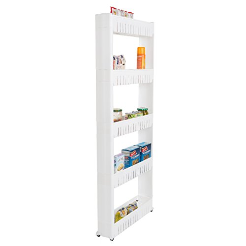 Mobile Shelving Unit Organizer with 5 Large Storage Baskets, Slim Slide Out Pantry Storage Rack for Narrow Spaces by Everyday Home