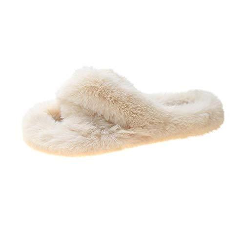 ypyrhh Damen Herren Winter Wärme Hausschuhe,Mode Plüsch Hausschuhe,Kreuz warme Hausschuhe-weiß_39,Winter Baumwolle Pantoffeln Damen HerrenWarme