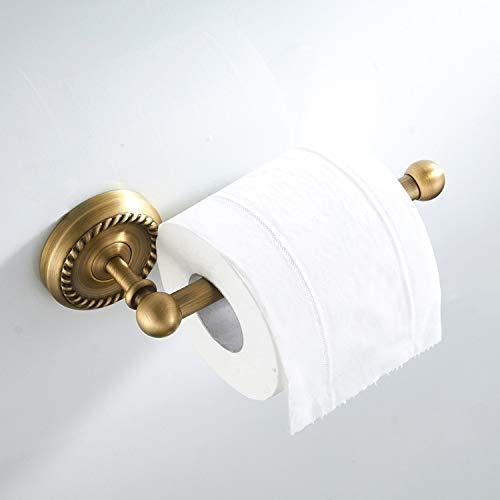 BigBig Home Toilettenpapierhalter Retro Gold, Klorollenhalter mit Antik Messing Finished, Papierrollenhalter Wandmontage für Badezimmer und Küche