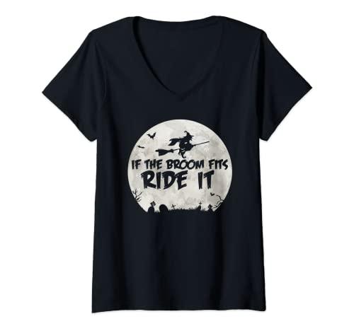 Mujer Si la escoba encaja montar Camiseta Cuello V
