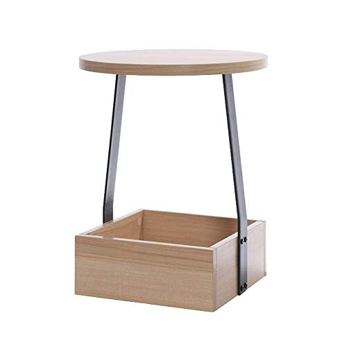 Furniture Decoration End Table 2 Tier Side Table with Storage Shelf Wood and Metal Legs Night Stand for Living Room Bedroom