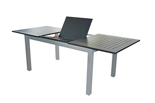Doppler Voll Aluminium Gartentisch 150/210 x 90 cm mit Synchronauszug Silber schwarz