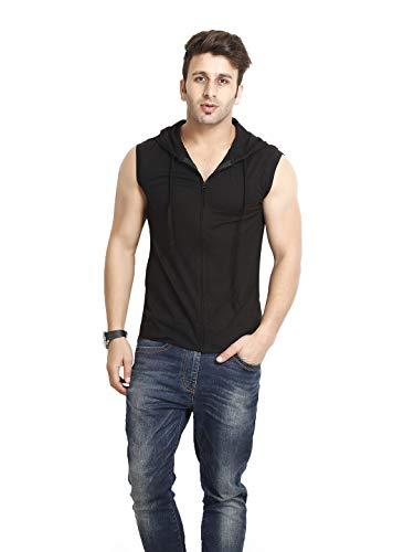 GRITSTONES Men's Hooded Cotton Zipper Jacket T-Shirt (GS60217JKTBLK(1)_Black_X-Large)