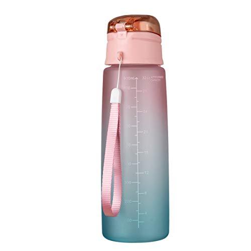 wivarra Botella de Agua para Fitness de 32 Oz con Marcador de Tiempo Jarra de Agua de Gran Capacidad Sin BPA para Gimnasio Trabajo de Oficina Al Aire Libre Degradado- Naranja
