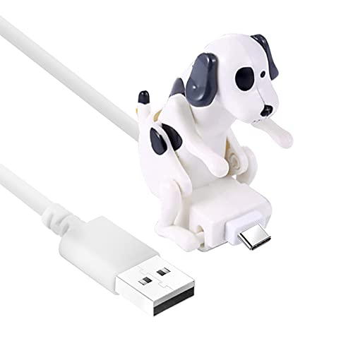 4 Foot Funny Humping Dog Fast Charger Cable for iPhone Type C Android Smartphone Creative Running Biking Dog's Charger for iPhone 11 12 Ipad Pro XR Samsung Type C Quirky Charger Cable (White, Type C)