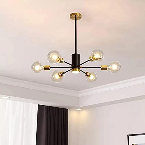 Lianye Lámparas de techo industriales, E27 lámpara de techo Sputnik forjada, luz molecular de 6 cabezas para dormitorio, pasillo, diámetro 65 cm, bombillas no incluidas