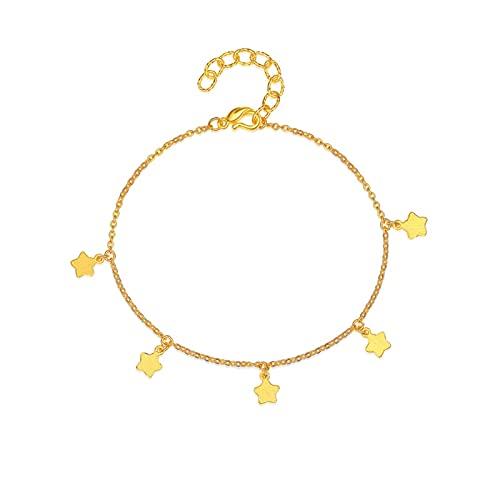 Adjustable Pulsera De Accesorios Oro Amarillo De 24k con Colgante De Estrella De Oro Regalo