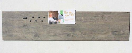 Magnet-Tafel/Board in Holz-Optik: Eiche Grau, Pinnwand aus Vinyl mit Stahl-Rückseite, 100cm x 22,5cm
