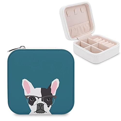 Caja de joyería para mujeres y niñas, Hipster Frenchie con gafas, Bulldog francés pequeño viaje PU cuero joyero organizador expositor para collares, pendientes, pulseras