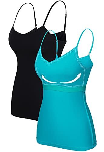 V for City - Camisola de algodón con cuello en V para mujer con estante, tirantes ajustables para espagueti, 2 unidades, Negro (Black/Aqua), XXL