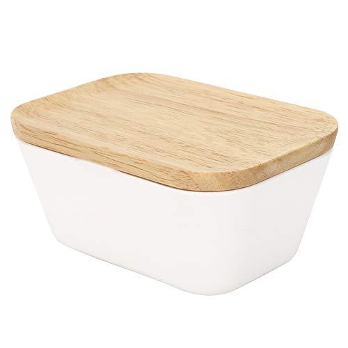 Porta Burro Piatto Per Burro con Coperchio in Bambu,500 ml Porta Formaggio da Frigorifero Rettangolare,15,3 x 10,2 x 8,5 cm