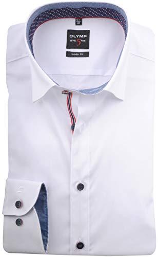 OLYMP Level Five Body fit Hemd extra Langer Arm mit Besatz weiß Größe 42