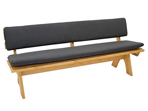 DEGAMO Auflagenset Bankauflage Arizona 2-teilig für Bank 4-sitzer 195cm, Sitz- und Rückenpolster, anthrazitfarben