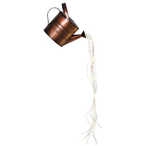 Star Shower Garden Art LED Light with Stake, Firefly Bunch Lights, Fairy Copper Wire Waterproof String Lights, Vine Solar Watering Can Lights, Outdoor Garden Eid Mubarak Easter Metal Decor Lights (B)