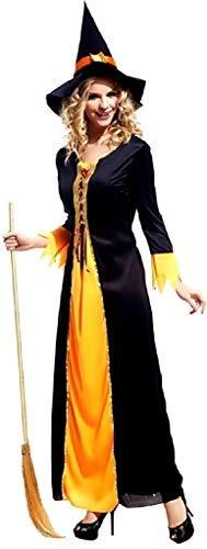 Legisdream Vestito di Carnevale da Strega Megera da Adulta Taglia Unica Colore Nero e Arancione Costume Halloween da Fattucchiera Maga Idea Travestimento Cosplay Feste a Tema Befana Include Cappello
