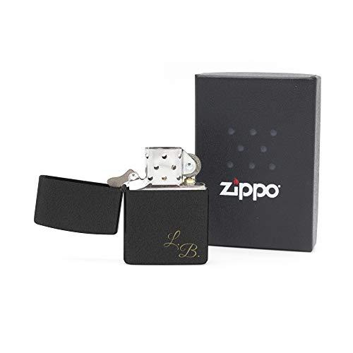 Namenbar Zippo Black Crackle - Mechero con Grabado Personalizable de Gasolina