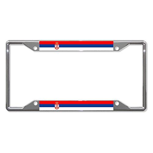 Serbien-Flagge, Metall, für Nummernschild, 4 Löcher, perfekt für Männer und Frauen