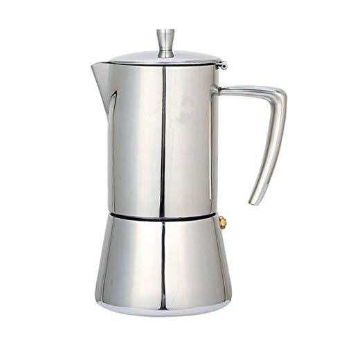 Top Moka Coffee Pot, Stovetop Mocha Espresso Maker, Best Polished Stainless Steel Coffee Percolator with Permanent Filter, Perfect for Home and Office Use, 6 Cup, JADACA