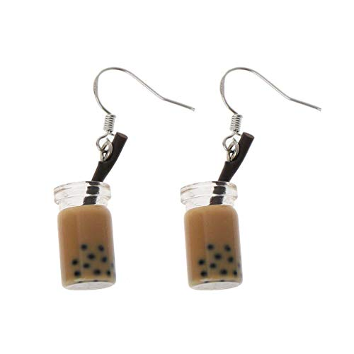 suoryisrty Ohrringe 1 para Lustige Milch Tee Trinken Baumeln Ohrringe Bubble Tea Simulierte Lebensmittel Frauen Schmuck Geschenke 2# Kaffee