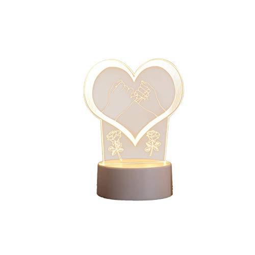 Muium(TM) Lámpara de noche LED 3D, USB, acrílico, luz nocturna, mesa de escritorio, dormitorio, decoración, luz blanca cálida, luz nocturna, regalo de San Valentín (B)