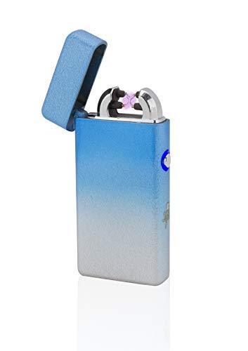 TESLA Lighter TESLA Lighter T08 Lichtbogen Feuerzeug, Plasma Double-Arc, elektronisch wiederaufladbar per USB, ohne Gas und Benzin, mit Ladekabel, in edler Geschenkverpackung, Sonderfarben Mixed-SkyBlue Mixed-skyblue