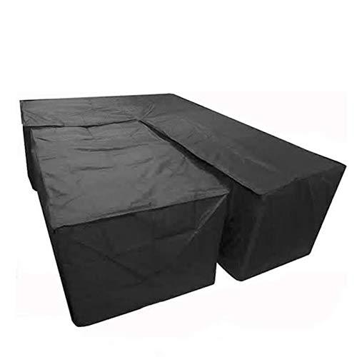 Kdrirad Funda De Sofá En Forma De L Funda Protectora Sofá de la Esquina Fundas Muebles Impermeable a Prueba de Polvo Cubierta Sofás Exterior (Color : Black, Size : 270 * 270 * 90CM+155 * 95 * 68CM)