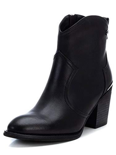 XTI - Botín Campera con Tacón Bajo para Mujer - Cierre con Cremallera - Color Negro