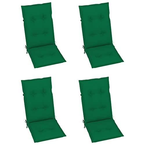 vidaXL 4X Gartenstuhl Auflage für Hochlehner Kissen Sitzkissen Stuhlkissen Polster Stuhlauflage Sitzauflagen Sitzpolster Grün 120x50x7cm