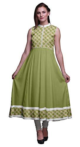 Bimba Olive Green2 Watercolor Anarkali Dress Mandarin Collar Sleeveless Kurtis for Women Print Maxi Dress Medium