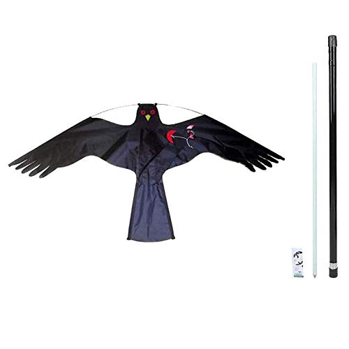 AILZNN Bird Deterrent Kite Pigeon Scarers For Gardens, Birds Repellent Kite Simulated Hawk Flash Reflective Scare Kites With Telescopic Pole