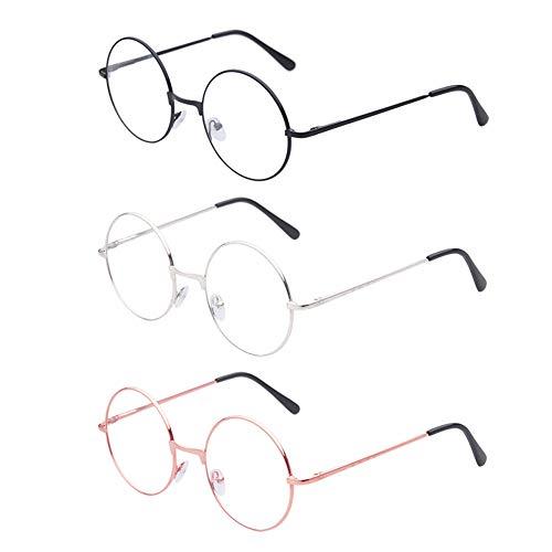 MUCHEN SHOP Metallrahmen Runde Brille,3 Paar Retro Metall Klare Linse Brillen Weinlese Klassiker Dekobrille Klassisches für Damen Herren Unisex Ankleiden(Schwarz/Silber/Roségold)
