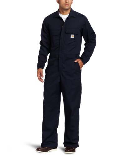 Carhartt Men's Big & Tall Flame Resistant Traditional Twill Coverall,Dark Navy,44...