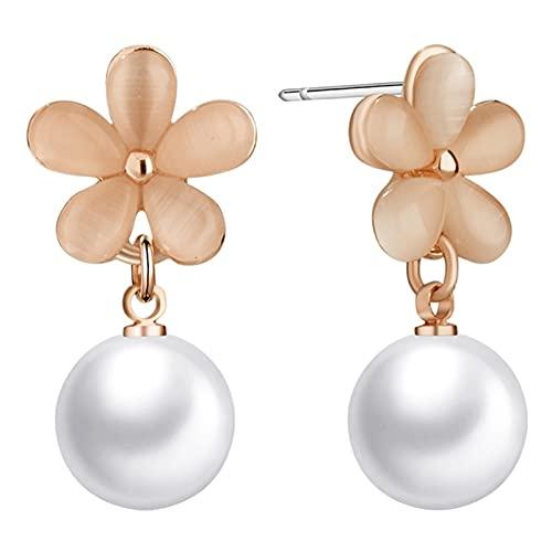 LICHUAN Pendientes de perlas y flores, pendientes colgantes con forma de gota para mujeres y niñas