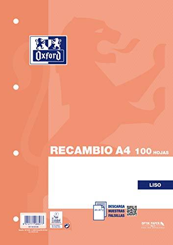 Oxford Recambio Hojas Lisas A4, 4 Taladros, 100 Hojas, 90gr