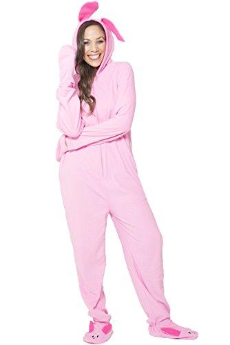 Christmas Story Women's Deranged Bunny One Piece Pajama, Pink, L/XL