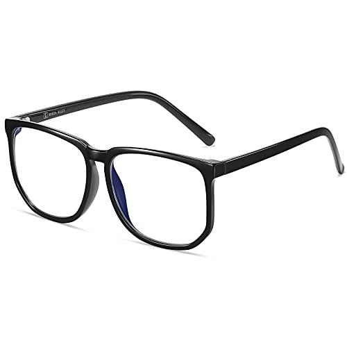 TR90 Vintage Oversized Blue Light Blocking Glasses for Mid Big Face Square Frame Glasses Nerd Black/Tortoiseshell Large Clear Lens