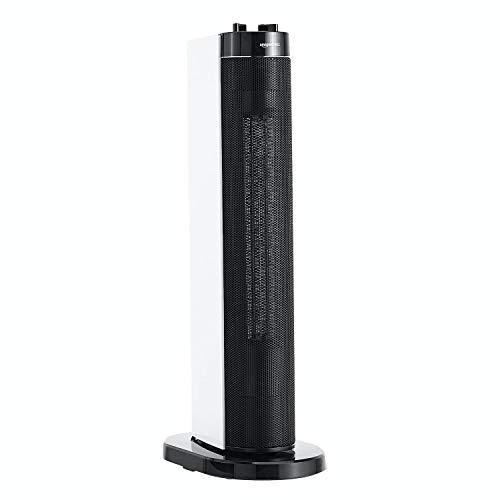 Amazon Basics - Columna calefactora oscilante portátil, 2 niveles de temperatura, con enchufe UE, 2000 W