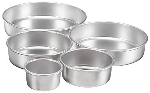 AmazonCommercial Aluminum Round Cake Pans, 5-Piece Set, Includes Pan Sizes in 12, 10, 8, 6, and 4 Inches