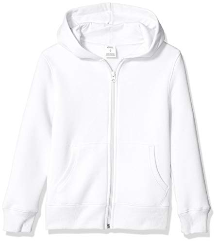 Amazon Essentials Fleece Zip-up Hoodie Fashion, Blanco, Large