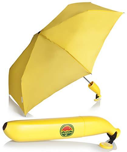 Regenschirm im Banane Design - Schwarz 87 cm Durchmesser - Gadget Taschenschirm als Geschenkidee - Grinscard