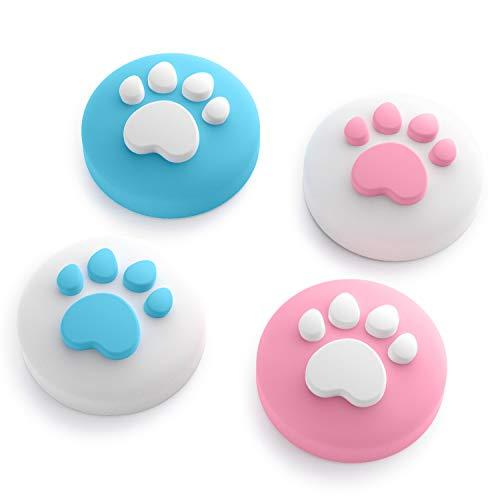 HITRENDS Cat Claw Design Daumen Griff Kappen, Joystick Kappe Thumb Grip Geeignet für Nintendo Switch & Lite, Weiche Silikonhülle für Joy-Con Controller (Pink & Blau)
