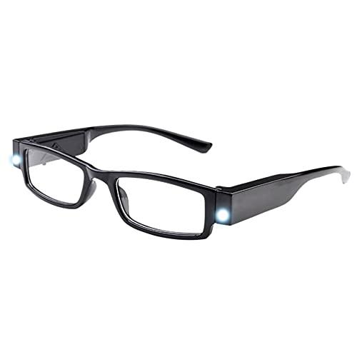 Milya Milya Unisex Lesebrille Presbyopie Brille Sehhilfe Lesehilfe mit Licht Schwarz +1,0