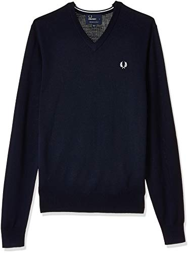 Fred Perry Herren Classic V Neck Sweater Pullover, Dark Carbon, Mittel