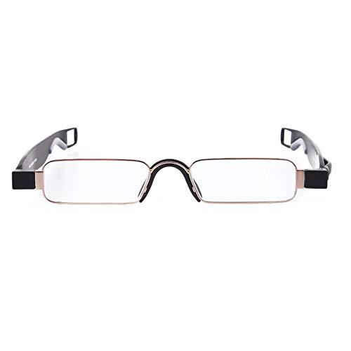 Qiuge Gafas de lectura, Pie de primavera metálica Portátil Portátil Portátil de 360 grados Hombres y mujeres Fatiga y protección contra el dolor de cabeza con la suspensión de la pluma + 1.50D QiuGe