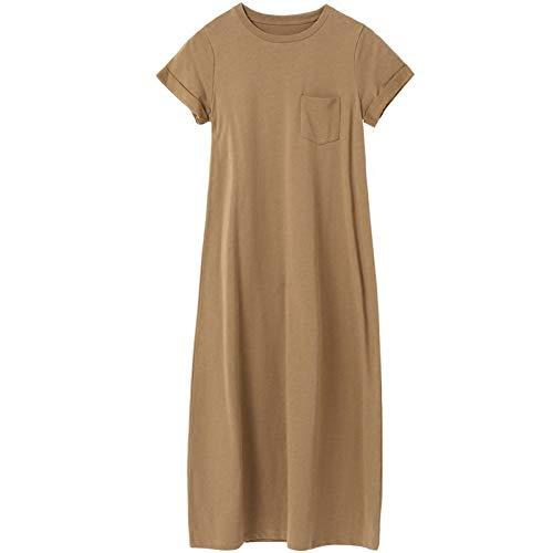 BINGQZ Cocktailjurken Katoen zomerjurk mode temperament slanke jurk eenvoudige effen kleur literaire damesjurk zomer