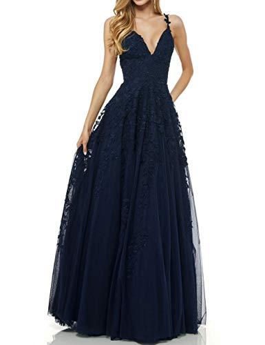 LuckyShe Damen Sexy V-Ausschnitt Abendkleider Ballkleid Elegant für Hochzeit Lang 2018 Dunkelblau Größe 32