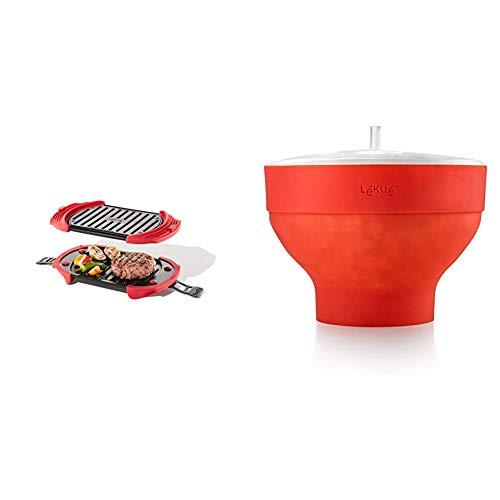 Lékué Microwave Grill, Red microondas, Acero, rojo y negro + Recipiente para cocinar Palomitas, Rojo, 20 cm